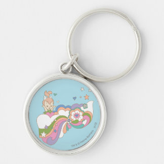 PEBBLES™ Rainbow Cloud Silver-Colored Round Keychain