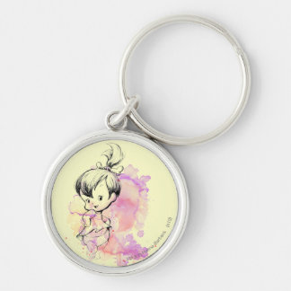 Pebbles Water Color Silver-Colored Round Keychain