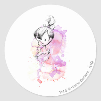 Pebbles Water Color Classic Round Sticker