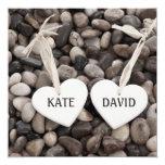 """Pebbles Wedding Invitation 5.25"""" Square Invitation Card"""