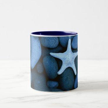 Beach Themed Pebbles white star Two-Tone coffee mug