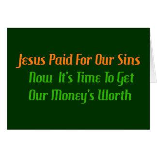 Pecado pagado por adelantado tarjeta de felicitación