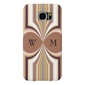 """Pecan """"Carved Wood"""" Panel with Stripe Pattern Samsung Galaxy S6 Cases"""