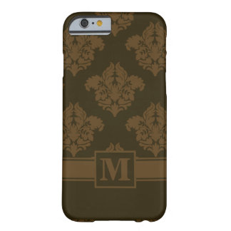 Pecan Chocolate Style Damask with Monogram Barely There iPhone 6 Case