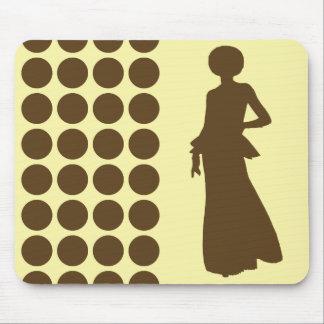 Pecan Cream Neutral Dots Fashion Silhouette Mouse Pad