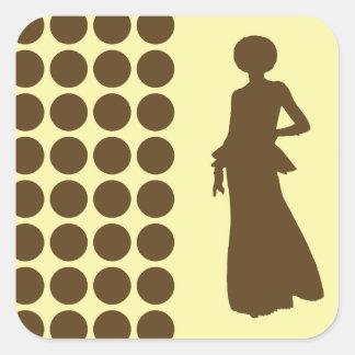 Pecan Cream Neutral Dots Fashion Silhouette Square Sticker