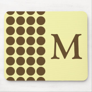 Pecan Cream Neutral Dots with monogram Mouse Pad