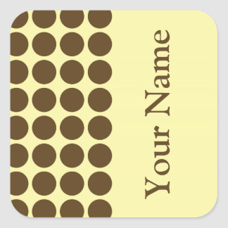 Pecan Cream Neutral Dots with name text Square Sticker