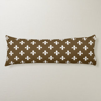 Pecan Neutral Fleur de Lys Body Pillow