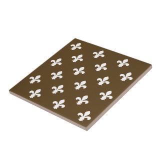 Pecan Neutral Fleur de Lys Small Square Tile