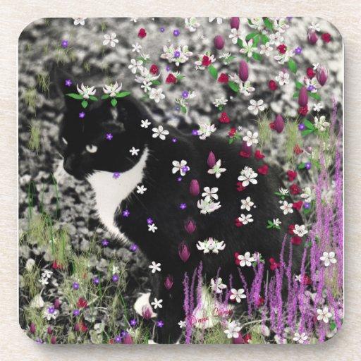 Pecas en flores I - gatito blanco negro del smokin Posavasos
