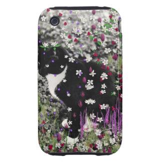 Pecas en flores I - gatito blanco y negro de Tux Tough iPhone 3 Carcasas