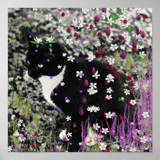 Pecas en flores I - gato blanco y negro de Tux Poster