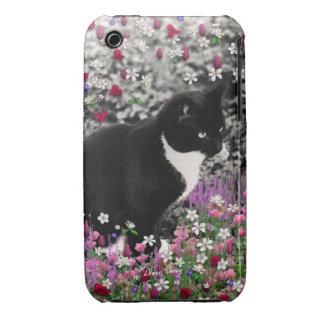 Pecas en flores II - gato blanco negro del smoking iPhone 3 Protectores