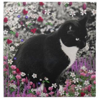 Pecas en flores II - gato blanco y negro de Tux Servilletas