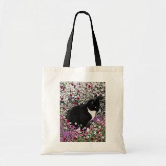 Pecas en flores II - gato blanco y negro del gatit Bolsas