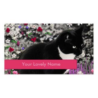 Pecas en flores II, gato blanco y negro Tarjetas De Visita