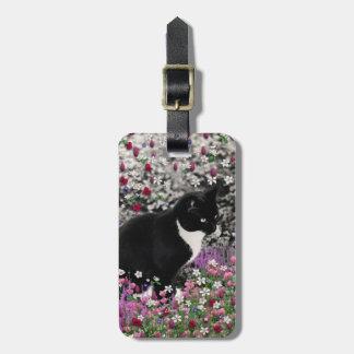 Pecas en flores II - gato del gatito de Tux Etiquetas Para Maletas
