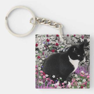Pecas en flores II - gato del gatito de Tux Llavero Cuadrado Acrílico A Una Cara