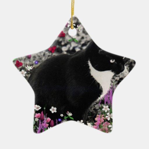 Pecas en flores II - gato del gatito del smoking Adorno Navideño De Cerámica En Forma De Estrella