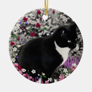 Pecas en flores II - gato del gatito del smoking Adorno Navideño Redondo De Cerámica