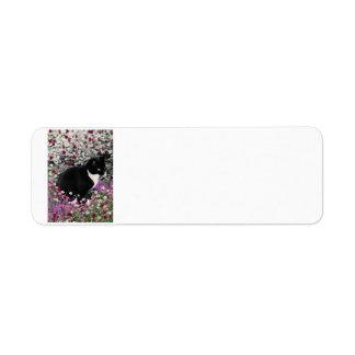 Pecas en flores II - gato del gatito del smoking Etiqueta De Remite
