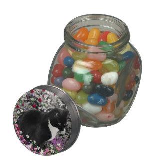Pecas en flores II - gato del gatito del smoking Frascos De Cristal Jelly Belly