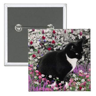 Pecas en flores II - gato del gatito del smoking Pin Cuadrado