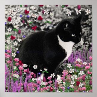 Pecas en flores II - gato del gatito del smoking Póster