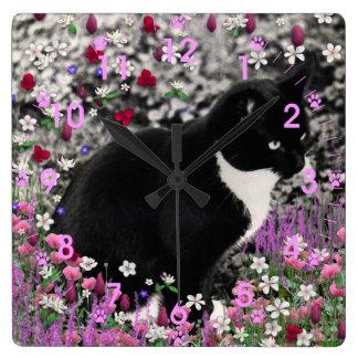 Pecas en flores II - gato del gatito del smoking Reloj Cuadrado
