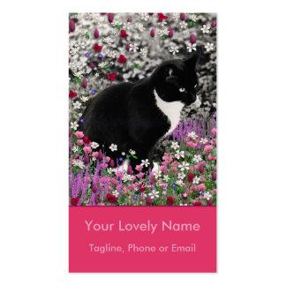 Pecas en flores II - gato del gatito del smoking Tarjetas De Visita