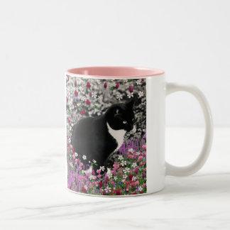 Pecas en flores II - gato del gatito del smoking Taza