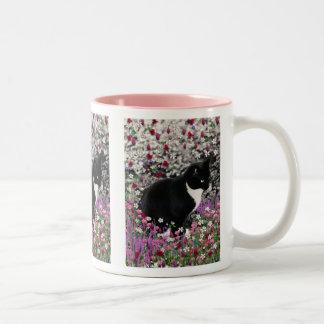 Pecas en flores II - gato del gatito del smoking Taza De Café De Dos Colores