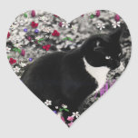 Pecas en flores II - gato del smoking Colcomanias De Corazon
