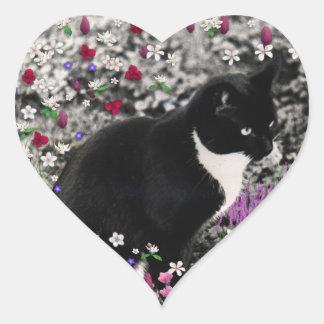 Pecas en flores II - gato del smoking Pegatina En Forma De Corazón