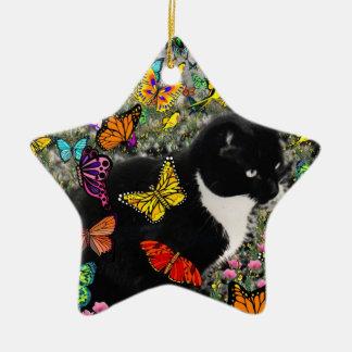 Pecas en las mariposas - gatito blanco y negro adorno navideño de cerámica en forma de estrella