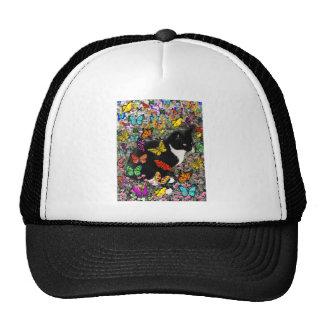 Pecas en las mariposas - gatito blanco y negro gorro
