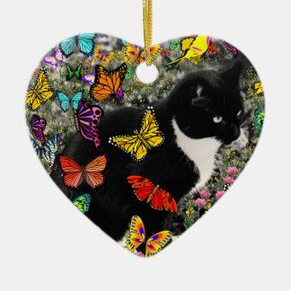 Pecas en las mariposas - gatito del smoking adorno navideño de cerámica en forma de corazón