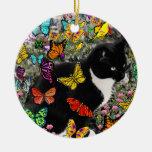 Pecas en las mariposas - gatito del smoking ornamento para arbol de navidad
