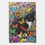 Pecas en las mariposas - gatito del smoking toallas de cocina