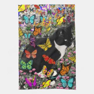 Pecas en las mariposas - gatito del smoking toalla de mano