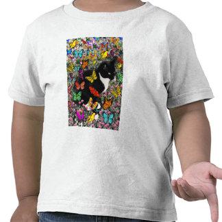Pecas en las mariposas - gatito del smoking camiseta