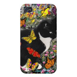 Pecas en las mariposas - gato del gatito de Tux iPhone 4/4S Carcasas