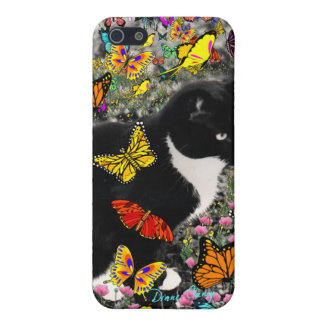 Pecas en las mariposas - gato del gatito de Tux iPhone 5 Funda