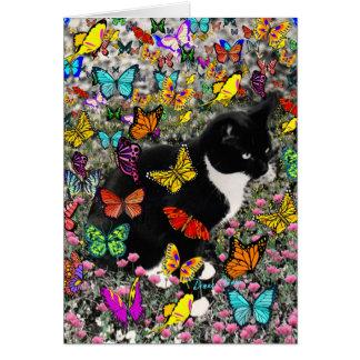 Pecas en las mariposas - gato del gatito de Tux Tarjeta De Felicitación