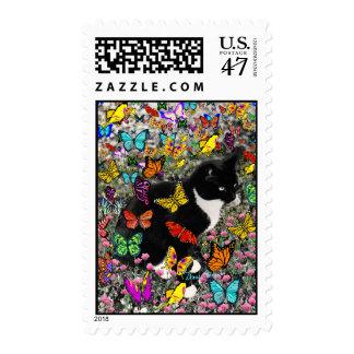 Pecas en las mariposas - gato del gatito de Tux Timbre Postal