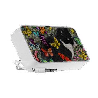 Pecas en las mariposas - negras y el gato blanco d iPhone altavoz