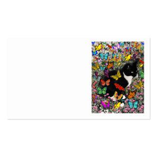 Pecas en las mariposas - negras y el gato blanco d plantilla de tarjeta de visita