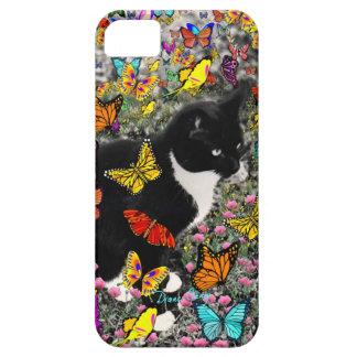 Pecas en las mariposas - negras y el gato blanco funda para iPhone 5 barely there