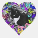 Pecas en mariposas II - gatito blanco negro de Tux Calcomanías De Corazones
